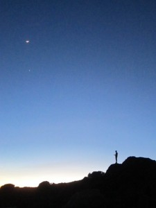 Texting man, the moon, Venus.